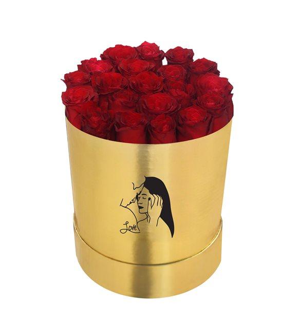 Altın Sarısı Büyük Silindir Kutuda Kırmızı Gül